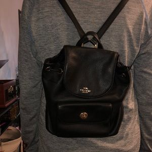 mini black coach backpack